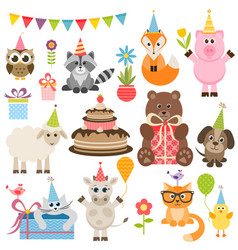 Set of different animals on birthday party vector