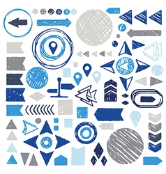 set of sketch geometric elements - arrows circles vector image vector image