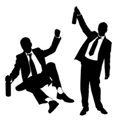 silhouettes of drunk men vector image vector image