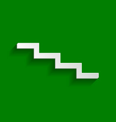 Stair down sign paper whitish icon with vector
