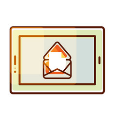 Tablet pc icon with e-mail message vector