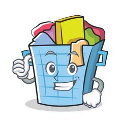 Thumbs up laundry basket character cartoon vector