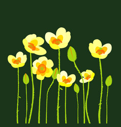 Yellow poppies on green background vector