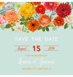 Wedding card summer and autumn flowers vector
