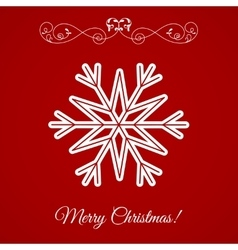 White Snowflake Icon Over Red Background vector image