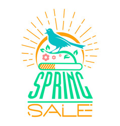 Spring sale design singing bird vector