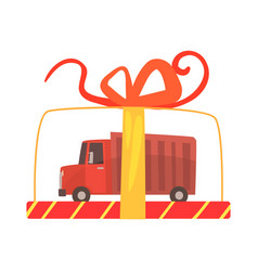 Toy truck in a transparent gift box cartoon vector