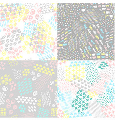 Set of hand painted seamless pattern vector