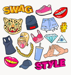 Swag style teenage fashion doodle with lips vector