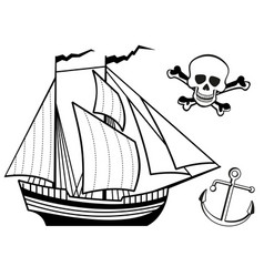 Ship anchor and human skull vector