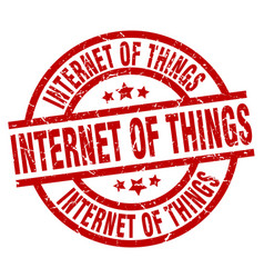 Internet of things round red grunge stamp vector