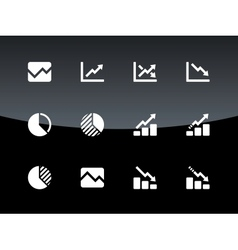 Line chart and Diagram icons on black background vector image