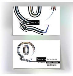 Business card design with letter q vector