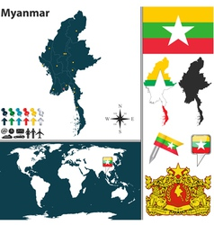 Myanmar map world vector