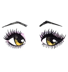 Watercolor yellow female eyes vector