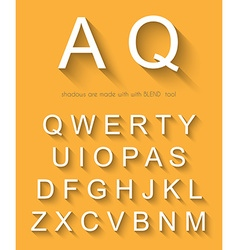 Classic alphabet with modern long shadow effect vector