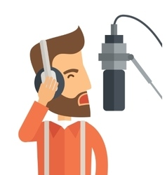 Dj with headphone and microphone vector