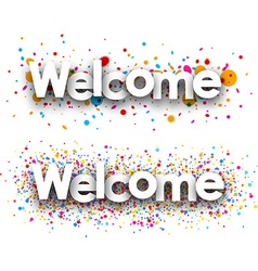 Welcome paper banners vector