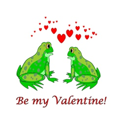 A couple of funny cartoon frogs with hearts vector
