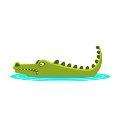 Angry crocodile laying in the water cartoon vector