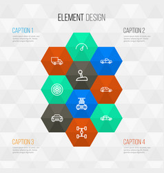 Automobile outline icons set collection of wheel vector