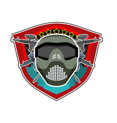 Battle logo paintball helmet and weapons military vector