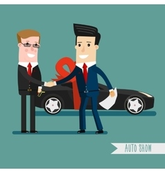 Businessman or manager is holding a key of new vector