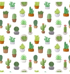 Cactus doodle seamless pattern vector
