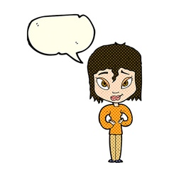 Cartoon satisfied woman with speech bubble vector