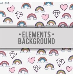 Clouds rainbows hearts diamonds background design vector