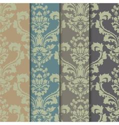 Floral damask ornament patterns set vector image vector image