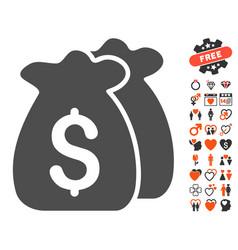 Funds icon with valentine bonus vector