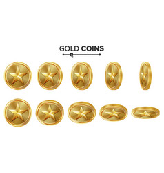 Game 3d gold coin with star flip different vector