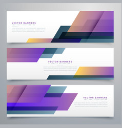 Geometric banners set in elegant purple color vector