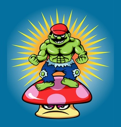 Green giant and angry mushroom cartoon character vector image vector image