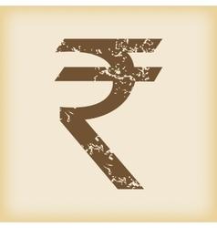 Grungy rupee icon vector