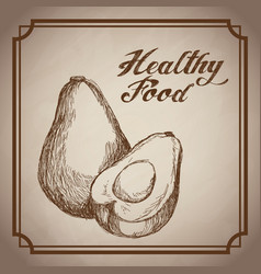 Hand drawn avocado healthy food fresh vector