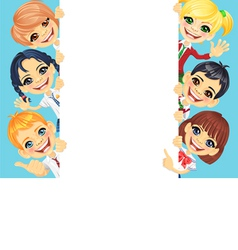 Happy smile kids and vertical banner vector image vector image