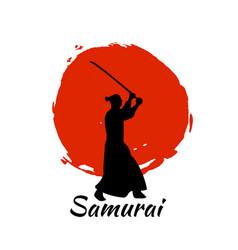 Japanese samurai warriors silhouette vector