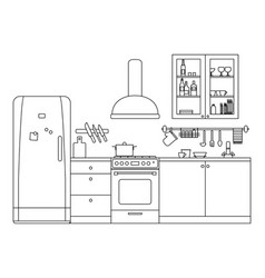 kitchen line interior vector image