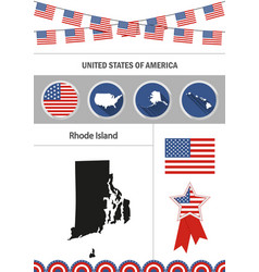 map of rhode island set of flat design icons vector image