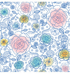 navy and pastels spring flowers seamless vector image