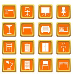 Office furniture icons set orange vector