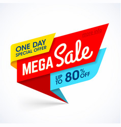 one day mega sale banner vector image vector image