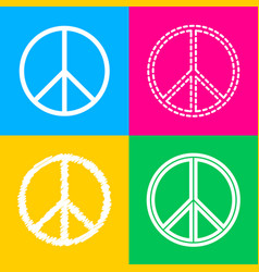 Peace sign four styles of icon on vector