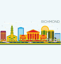 Richmond skyline with color buildings and blue sky vector