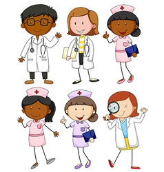 Set of doctors and nurses vector image vector image