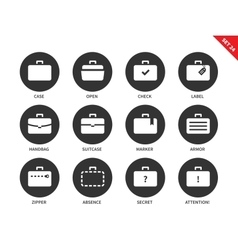 Suitcases icons on white background vector image