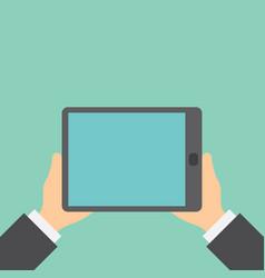 Tablet in the hands closeup vector