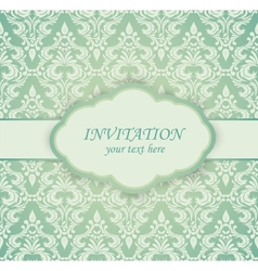 Vintage card with damask pattern vector image vector image